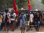 Merahkan Kota Yangon, Demonstran: Darah Mereka yang Terbunuh Belum Mengering