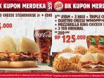 Promo Burger King Kupon Merdeka Berlaku sampai 31 September 2020, Enam Paket Menu Pilihan Diskon 50%