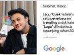 Terima Penghargaan dari Google, Rizky Febian Ungkap Rasa Syukur