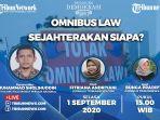 Sedang Berlangsung Link Live Streaming Tribunnews Panggung Demokrasi,Omnibus Law Sejahterakan Siapa?