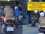 VIRAL Video Pria Pasang Tulisan di Belakang Motor karena Istri yang Dibonceng Sedang Hamil