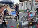 VIRAL Video Penjual Bakso Bakar Ditemani Anak dan Istri saat Berjualan, Ini Ceritanya
