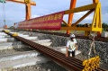 Kedatangan Perdana Rel KCJB di Depo Kereta Cepat Tegalluar