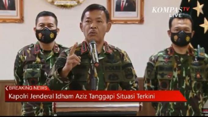 Kapolri Jenderal Idham Azis menggelar konferensi pers yang berisi imbauan menghindari kerumunan dan penerapan disiplin protokol kesehatan.
