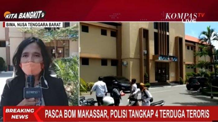 Densus 88 menangkap 4 orang terduga teroris di sebuah rumah di Kelurahan Penatoi dan juga di pasar Kota Bima, NTB terkait dengan ledakan bom bunuh diri di Makassar.