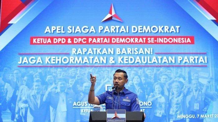 Ketua Umum Partai Demokrat Agus Harimurti Yudhoyono (AHY) lakukan konferensi pers untuk menampilkan testimoni dari peserta Kongres Luar Biasa di Deli Serdang, Sumatera Utara, Senin (8/3/2021).