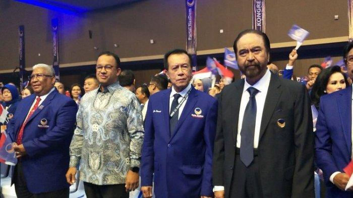 Gubernur DKI Jakarta Anies Baswedan menghadiri Kongres Partai Nasdem di JIExpo Kemayoran, Jakarta Pusat, Jumat (8/11/2019) malam. Anies duduk di barisan paling depan bersama Ketua Umum Partai Nasdem Surya Paloh.