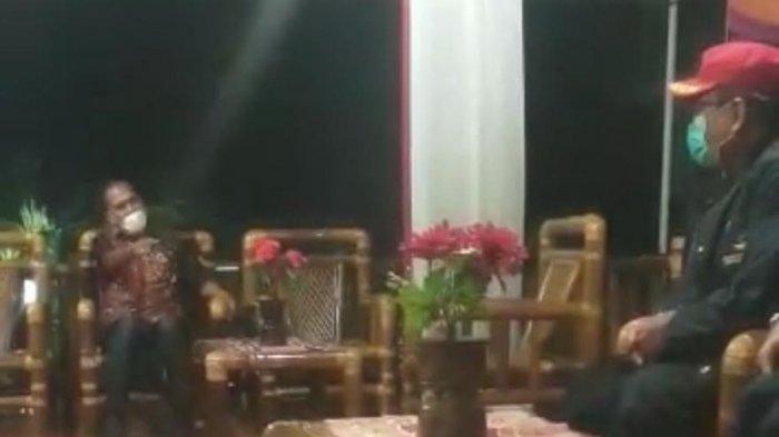 Tangkapan layar Video viral Bupati Alor NTT Amon Djobo tampak memarahi staf Kementerian Sosial RI.