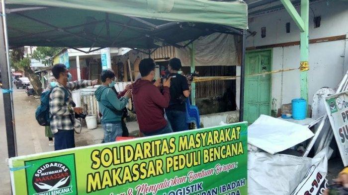 Eks markas Front Pembela Islam (FPI) Kota Makassar, digeledah Tim Densus 88 Anti Teror Mabes Polri, di Jl Sungai Limboto 5, Kecamatan Ujung Pandang, Kota Makassar, Selasa (4/5/2021) sore.