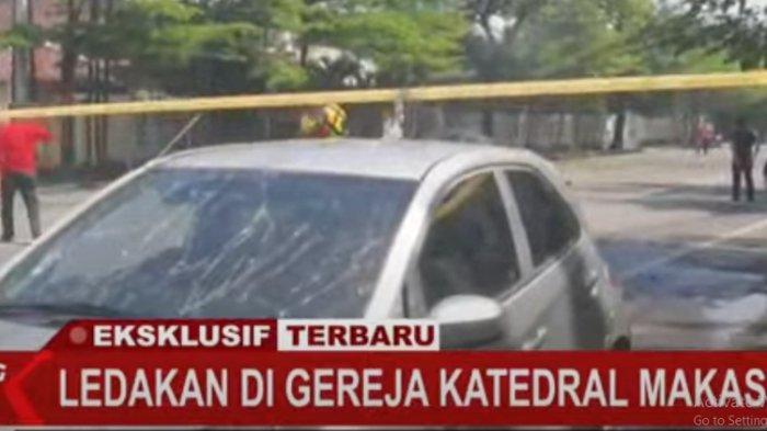 Tangkapan layar kondisi di depan Gereja Katedral Makassar usai ledakan yang terjadi pada Minggu (28/3/2021).