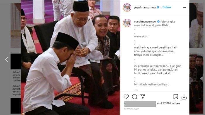 Ustads Yusuf Mansur mengunggah foto Presiden Jokowi sungkem kepada Wakil Presiden Maruf Amin