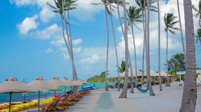 Suasana alam di Pulau Ranoh yang terdapat pohon kelapa menjulang dan pasir putih yang indah