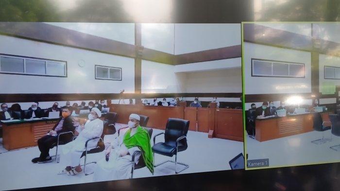 Rizieq Shihab dalam sidang lanjutan di Pengadilan Negeri Jakarta Timur, Kamis (27/5/2021).