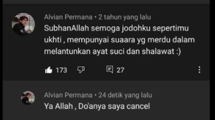 Tangakap layar viral pemuda ralat doa setelah 2 tahun di kolom komentar video Nissa Sabyan