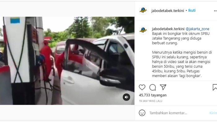 Tangkap layar video viral diduga ada praktik kecurangan di SPBU Jatake Tangerang