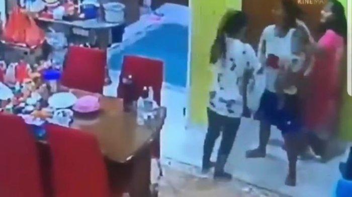 Tangkapan layar akun @unnie_update seorang ART menganiaya majikannya di salah sattu rumah di Cengkareng, Jakarta Barat pada 15-16 Mei 2021