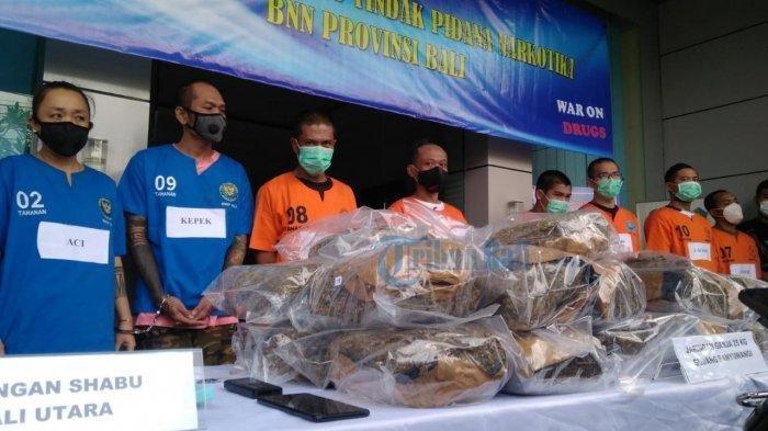 ILUSTRASI - BNNP Bali saat merilis pengungkapan kasus jaringan ganja, Denpasar, Bali, Jumat 26 Maret 2021.