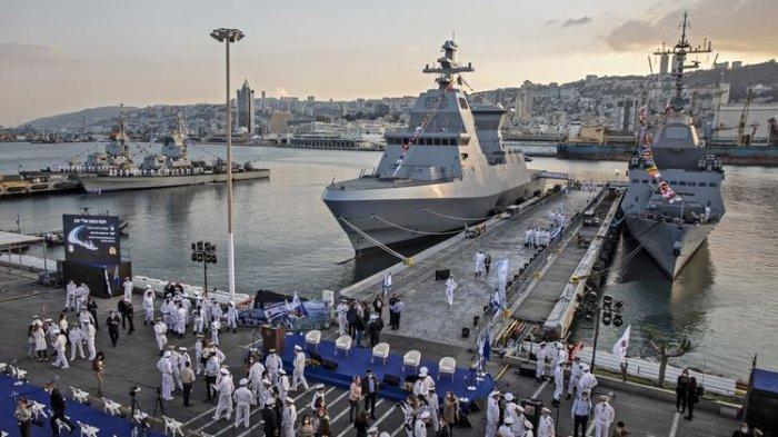 Upacara penyambutan kapal misil baru Saar 6 milik Israel