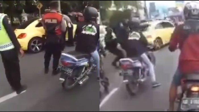Tangkapan layar mobil vw kuning nekat tabrak beberapa petugas polisi di Pos Penyekatan di wilayah Prambanan.