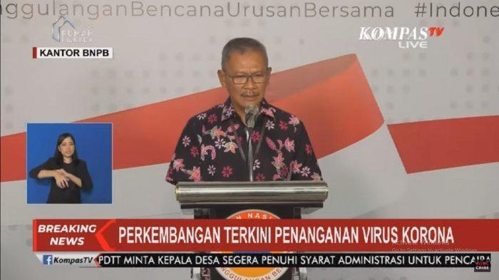 Juru bicara pemerintah untuk penanganan virus corona, Achmad Yurianto dalam konferensi pers di gedung BNPB, Jakarta, Sabtu (21/3/2020).(Tangkapan layar KompasTV)