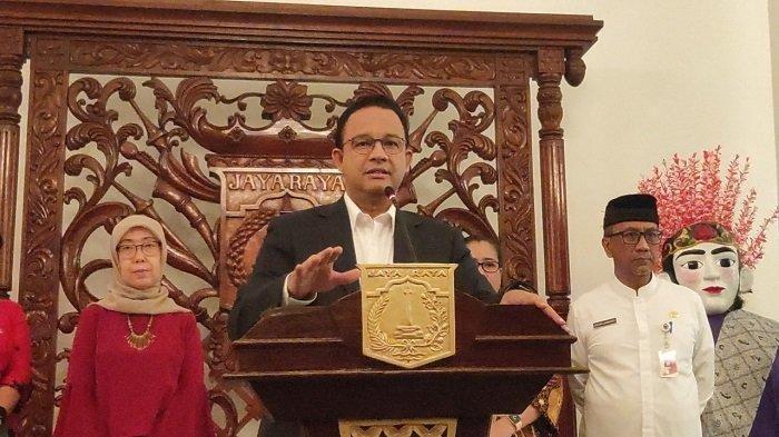 Gubernur DKI Jakarta Anies Baswedan saat menghadiri konferensi pers, Jumat (13/3/2020) di Balai Kota DKI Jakarta.