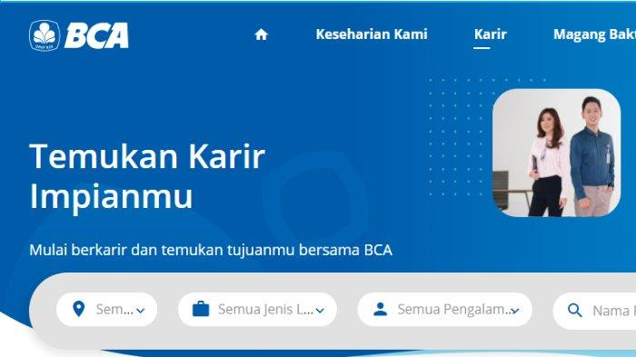 Lowongan kerja Bank BCA (tangkapan layar karir.bca.co.id.)