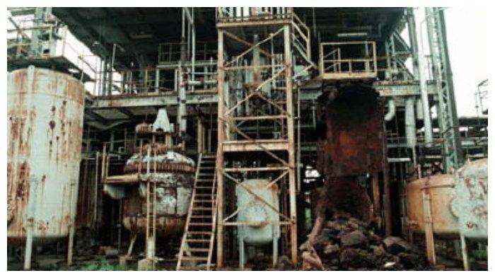 Bekas pabrik pestisida di Bhopal, India, yang mengalami kebocoran gas