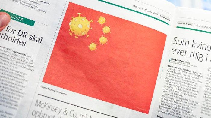 Sebuah ilustrasi satire muncul di sebuah surat kabar di Denmark yang mengubah lima bintang bendera China dengan virus corona