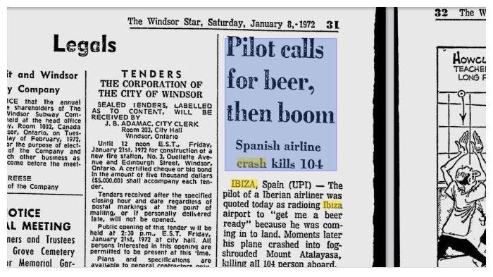 Berita kecelakaan Iberian Airlines Flight 602 di koran