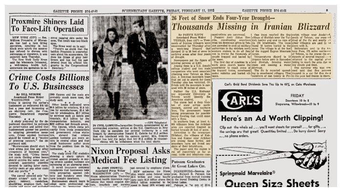 Berita mengenai badai salju di Iran pada 1972
