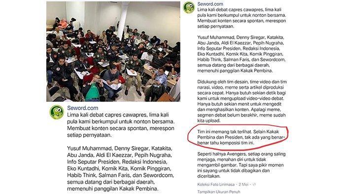 Seword yang menjelaskan tentang adanya tim saat debat capres cawapres, disebut sebagai buzzer istana. Ada nama Denny Siregar, Abu Janda dan Eko Kuntadhi.