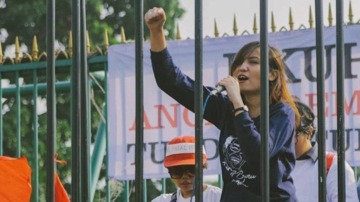 Cania Citta Irlanie ketika melakukan orasi dalam demonstrasi tunda RUU KUHP yang diunggah di akun Instagram pada 17 September 2019