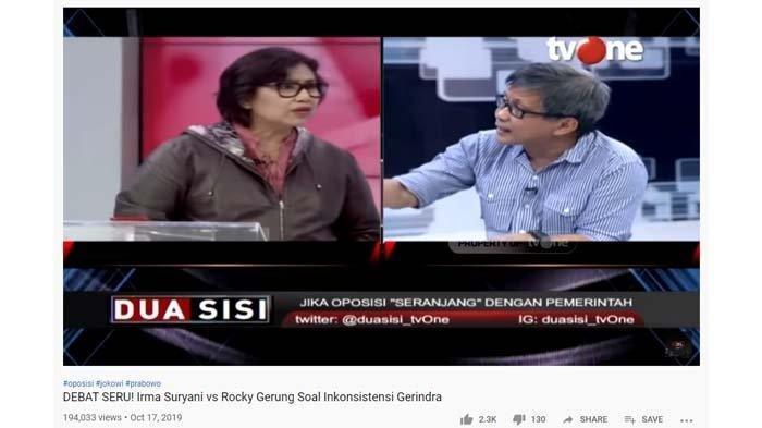 Debat panas Irma Suryani vs Rocky Gerung