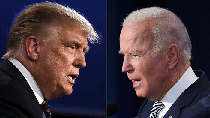 Presiden AS Donald Trump (kiri) dan calon Presiden dari Partai Demokrat, mantan Wakil Presiden Joe Biden, melakukan debat presiden pertama di Case Western Reserve University dan Cleveland Clinic di Cleveland, Ohio Selasa (29/9/2020).