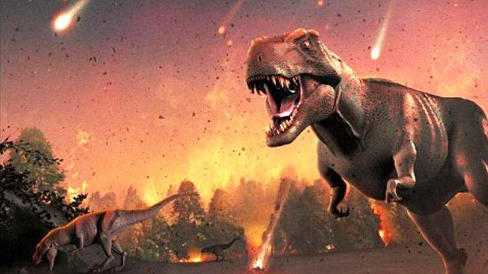 Ilustrasi makhluk dinosaurus berlarian saat bumi dihantam asteroid. Penelitian terbaru menyebut penyebab kepunahan dinosaurus dan 76 persen kehidupan di bumi, bukan disebabkan oleh apa yang disangkakan ilmuwan selama ini.