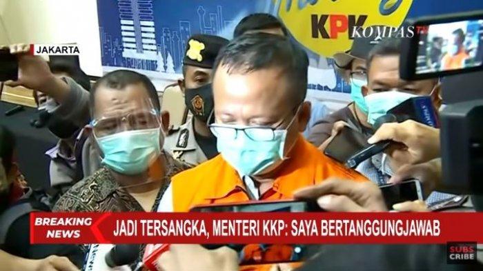 Menteri Kelautan dan Perikanan Edhy Prabowo ditetapkan KPK sebagai tersangka kasus dugaan penerimaan hadiah atau janji terkait perizinan tambak, usaha, atau pengelolaan ikan atau komoditas perairan sejenis lainnta tahun 2020 di Gedung Merah Putih KPK, Rabu (25/11/2020).