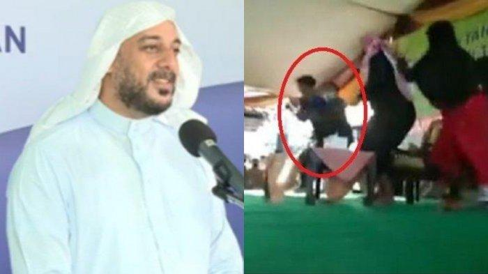 Tangkapan layar aksi penusukan seorang pria terhadap Syekh Ali Jaber.