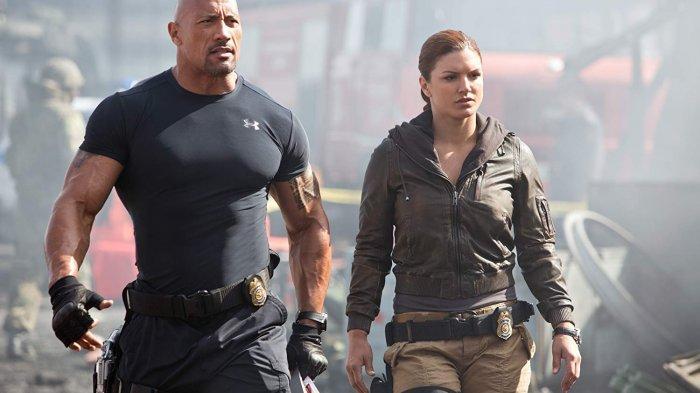 Dwayne Johnson dan Gina Carano dalam film Fast & Furious 6 (2013)