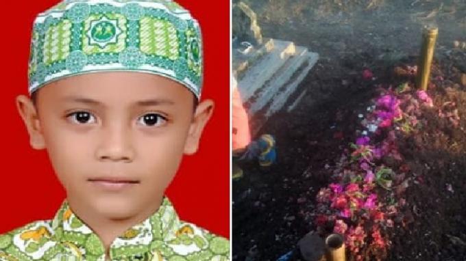 Foto bocah Fathir Ahmad semasa hidup dan kuburan Fathir Ahmad. Ini Permintaan Terakhir Bocah Fathir Ahmad yang Meninggal Setelah Di-Bully: Tangkap Iqbal Mamah!