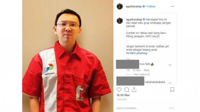Viral foto Ahok berseragam Pertamina di media sosial. Ini alasan sang pengunggah foto tersebut.