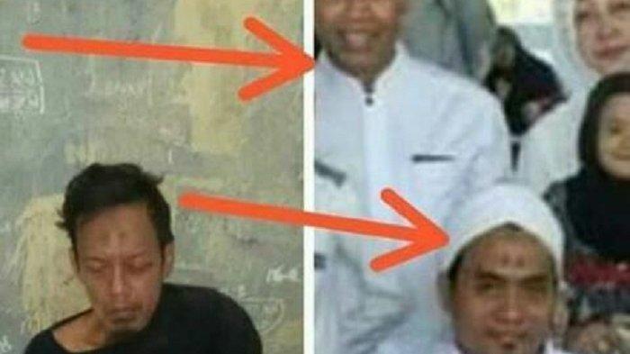Foto editan yang viral di media sosial. Narasi foto itu seolah-olah ada kemiripan antara foto tersangka penusuk Wiranto di Pandeglang, Banten, dengan foto lelaki berpakaian putih-putih dan bersorban.