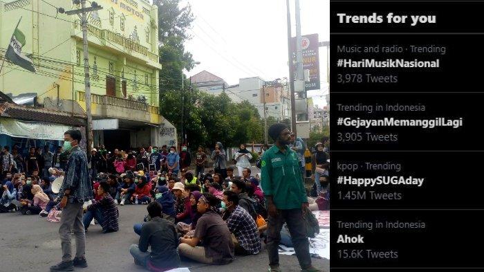 #GejayanMemanggilLagi diserukan oleh Aliansi Rakyat Bergerak (ARB) Yogyakarta untuk menuntut penolakan RUU Omnibus Law Cipta Kerja