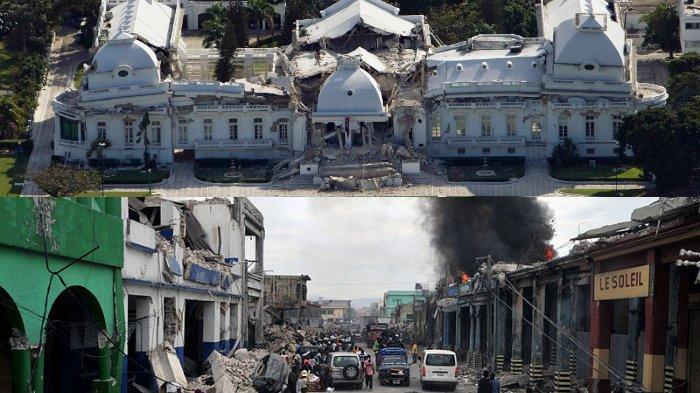 Istana Keppresiden Haiti terlihat roboh setelah diguncang gempa bumi (Atas). Terlihat berbagai macam bantuan datang (bawah)