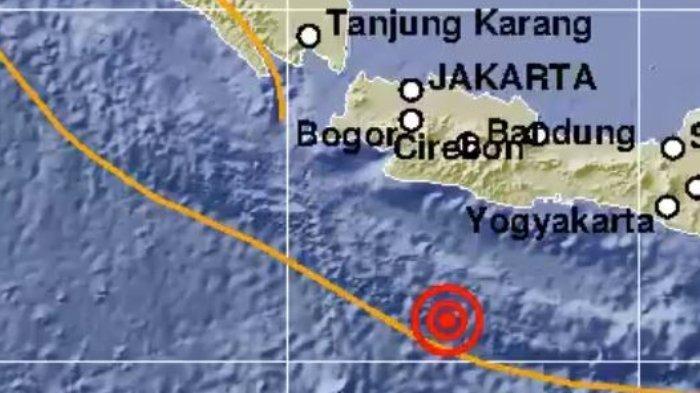Gempa 5,0 SR terjadi di Pangandaran, Jawa Barat, Selasa (7/7/2020) siang pukul 12:17/