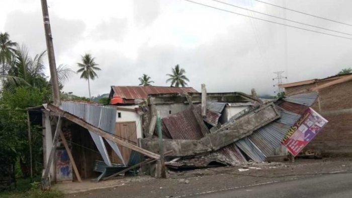 Gempa tektonik 5,9 sr guncang majene dan daerah sekitarnya, gunung longsor hingga gedung ambruk dilaporkan rusak