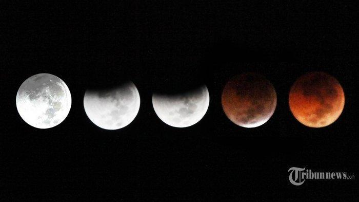 Proses gerhana bulan total terlihat dari kawasan Masjid Salman ITB, Kota Bandung, Sabtu (28/7/2018) dinihari. Gerhana Bulan tersebut merupakan yang terlama pada abad ke-21 ini dengan durasi mencapai 103 menit. Durasi itu bakal menjadi yang terlama hingga lebih dari 100 tahun ke depan. (TRIBUN JABAR/GANI KURNIAWAN)