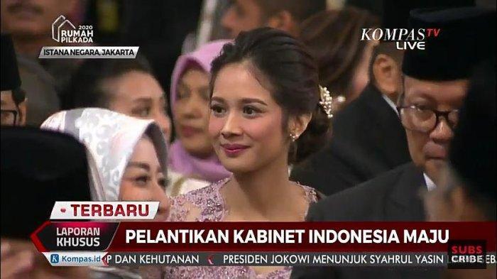 Gista Putri saat mendampingi Wishnutama dalam acara Pelantikan Menteri Kabinet Indonesia Maju, Rabu (23/10/2019).