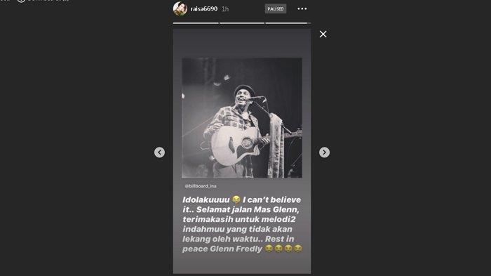 Ucapan belasungkawa dari penyanyi Raisa untuk Glenn Fredly yang diunggah melalui Instagram story milik Raisa.