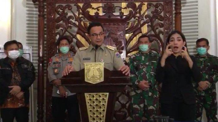 Gubernur DKI Jakarta Anies Baswedan menyampaikan ketentuan yang berlaku terkait penerapan PSBB di Jakarta, Selasa (7/4/2020).(Tangkapan layar dari akun Youtube Pemprov DKI Jakarta)