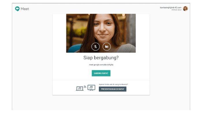 Tampilan muka fitur G Suite For Education, Hangouts Meet
